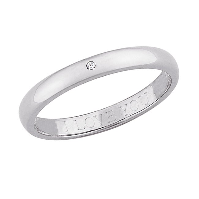 Sterling Silver Diamond Accent 'I Love You' Engraved Band