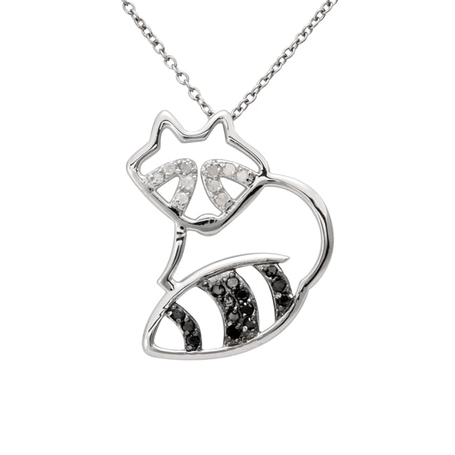 Sterling Silver 1/4ct TDW Black and White Diamond Raccoon Necklace (J-K, I3)