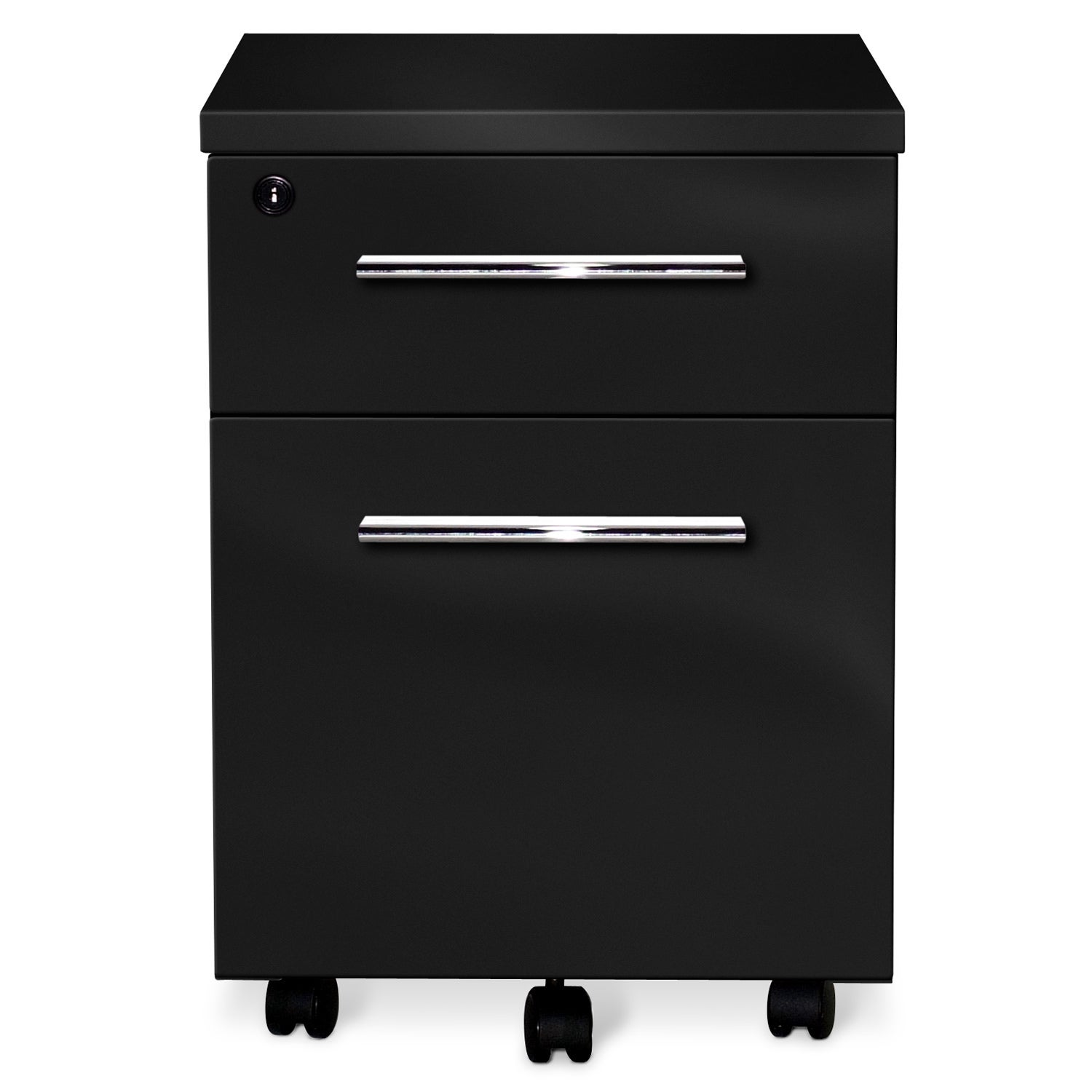 Jesper Office 2 Drawer Black Lacquer Mobile Pedestal
