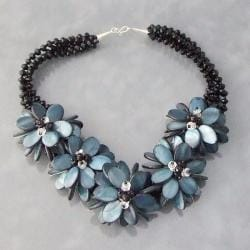 Handmade Sterling Silver Blue Shell Lotus Floral Bouquet Necklace (Thailand)