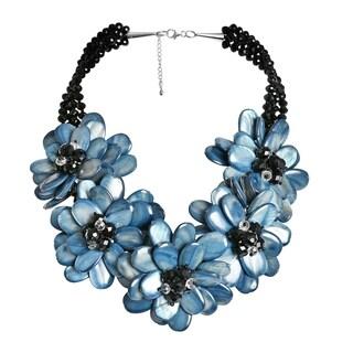 Handmade Grey-Blue Shell Lotus Flora Bouquet Handmade Necklace (Thailand)