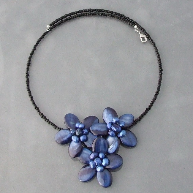 Navy Blue Shell and Pearl Flower Bouquet Necklace (Thailand)