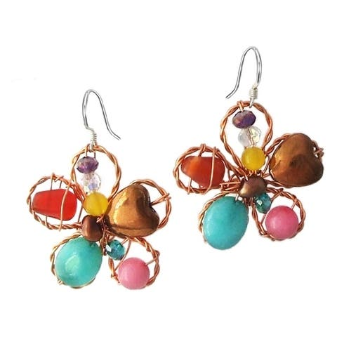 Handmade Sterling Silver Chalcedony Pearl Floral Earrings (Thailand) - Brown