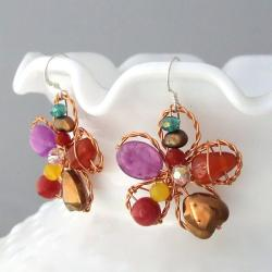 Sterling Silver Pearl and Amethyst Floral Earrings (Thailand)