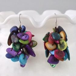 Sterling Silver Multicolor Shells Earrings (Thailand)