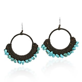 Stylish Turquoise Chandelier .925 Silver Earrings (Thailand) - BLue