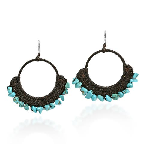 Handmade Stylish Turquoise Chandelier .925 Silver Earrings (Thailand) - Blue