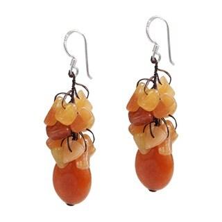 Handmade Sterling Silver Orange Carnelian Earrings (Thailand)