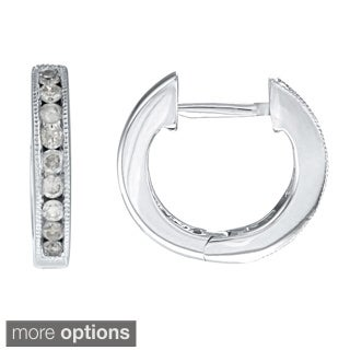 Auriya 10k White Gold 1/4ct TDW 12MM Diamond Hoop Earrings (J-K, I2-I3)