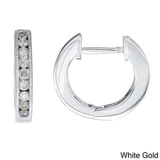 Auriya 10k White Gold 1/4ct TDW 12MM Diamond Hoop Earrings (J-K, I2-I3)