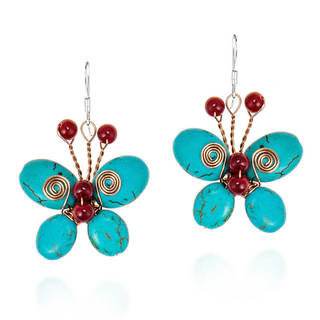 Sterling Silver Reconstructed Turquoise and Coral Butterfly Earrings (Thailand)