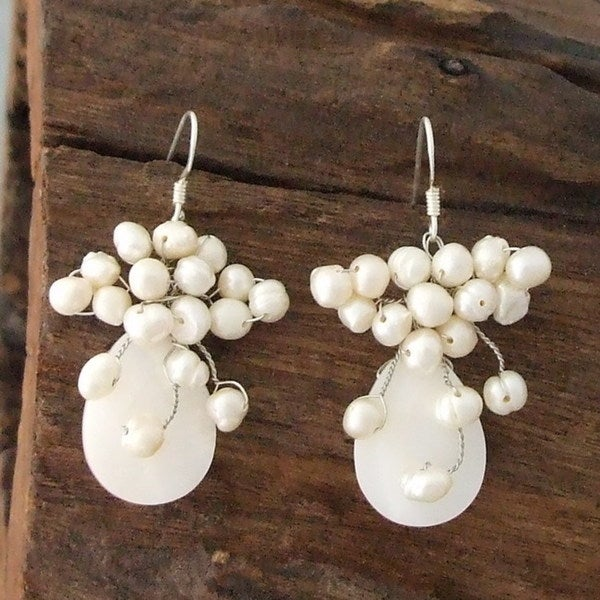 Handmade Sterling Silver Mother of Pearl and Pearl Teardrop Earrings (Thailand)