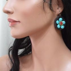 Sterling Silver Reconstructed Turquoise and Coral Floral Earrings (Thailand)