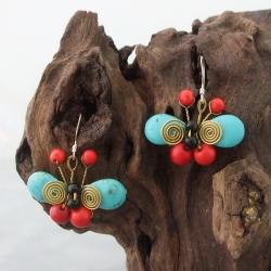 Handmade Sterling Silver Coral, Onyx and Turquoise Butterfly Earrings (Thailand)