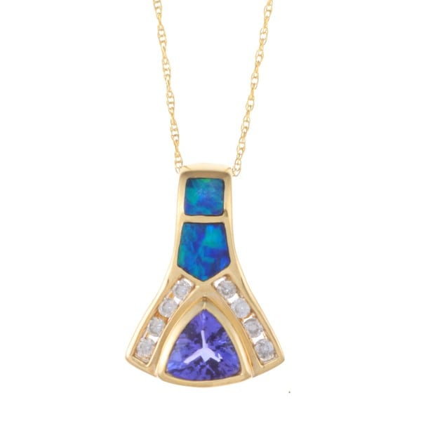 Encore by Le Vian 14k Gold Opal, Tanzanite and 1/5ct TDW Diamond Necklace (H-I, SI1-SI2)