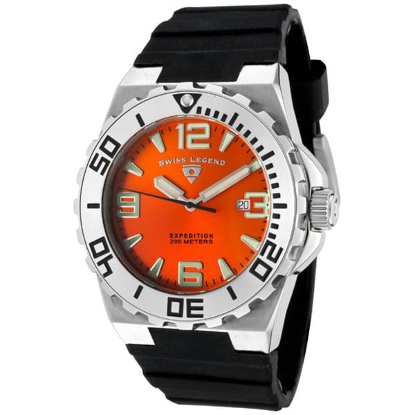 Swiss Legend Men's 'Expedition' Orange Dial Black Silicon Watch