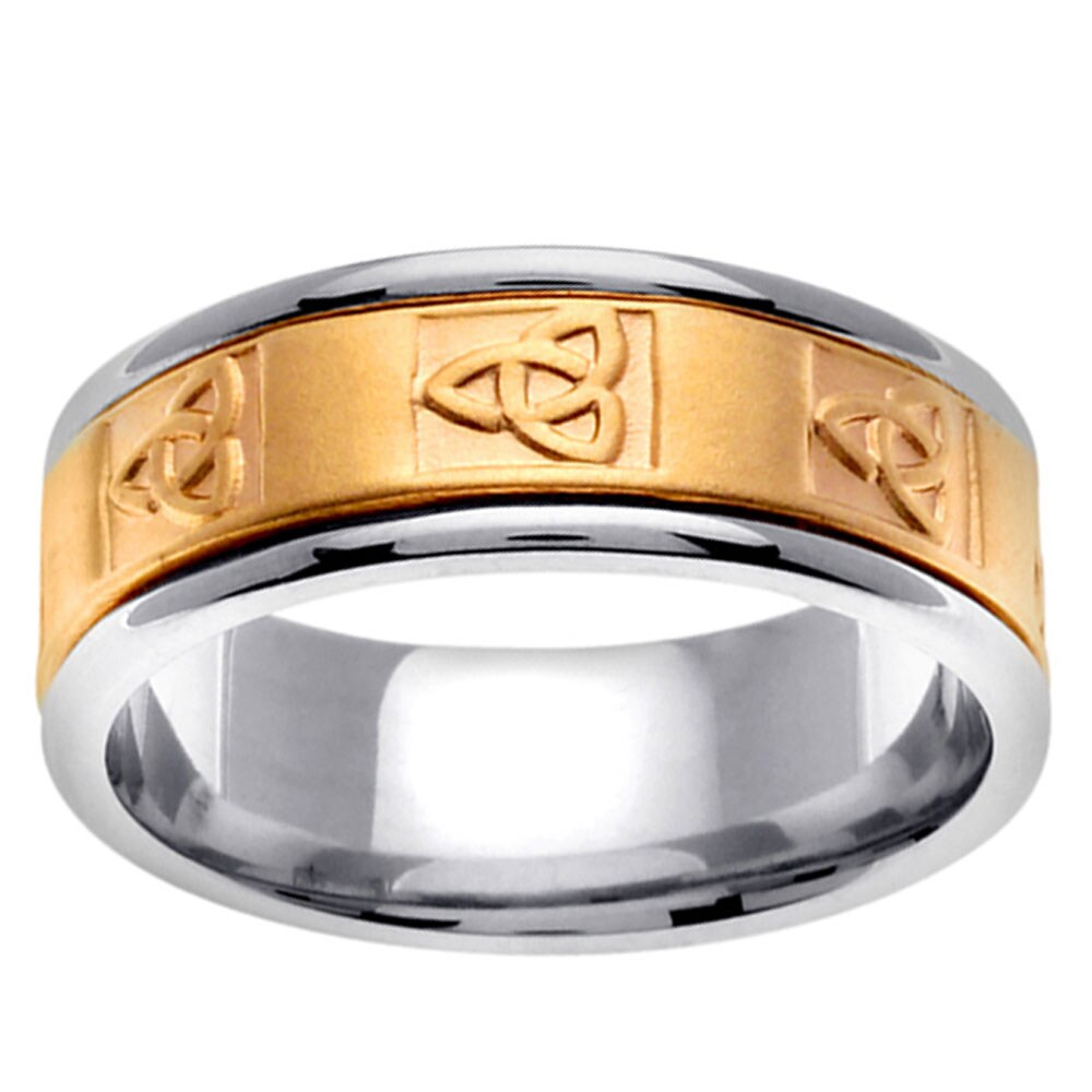 14k Two-tone Gold Men's Celtic Knot Wedding Band