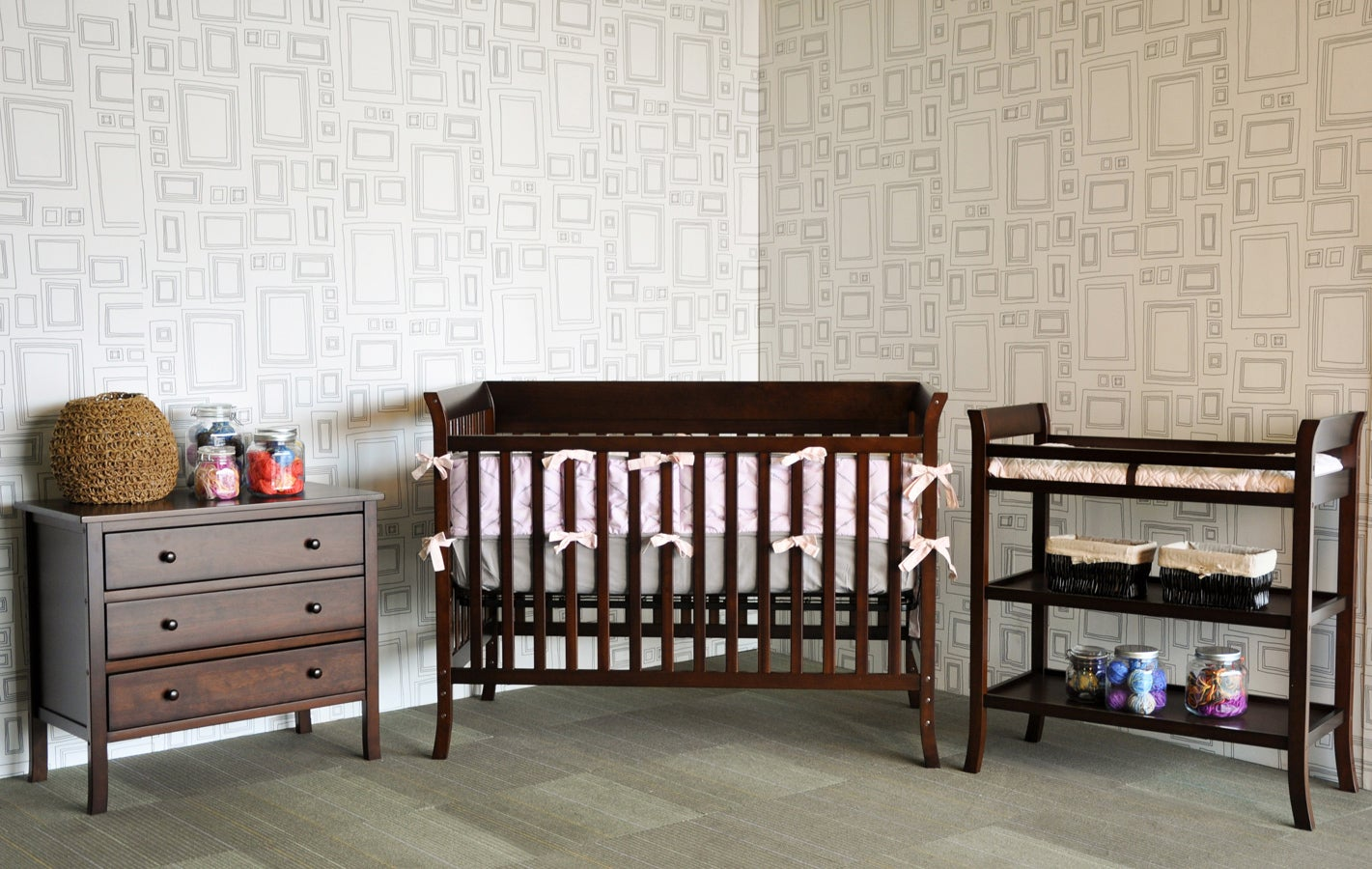 Ava Complete 5 piece Nursery Set by BabyMod in Espresso