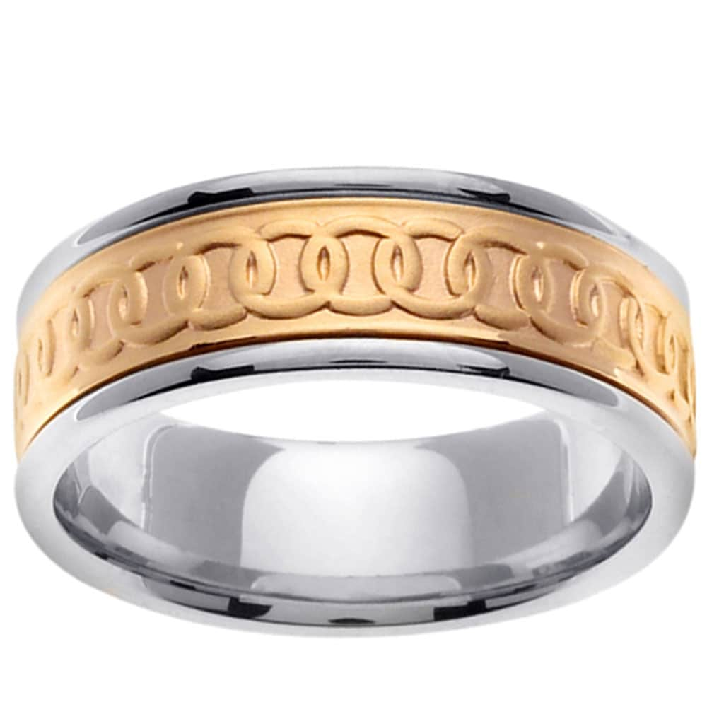 14k Two-tone Gold Men's Celtic Circle Wedding Band - Thumbnail 0