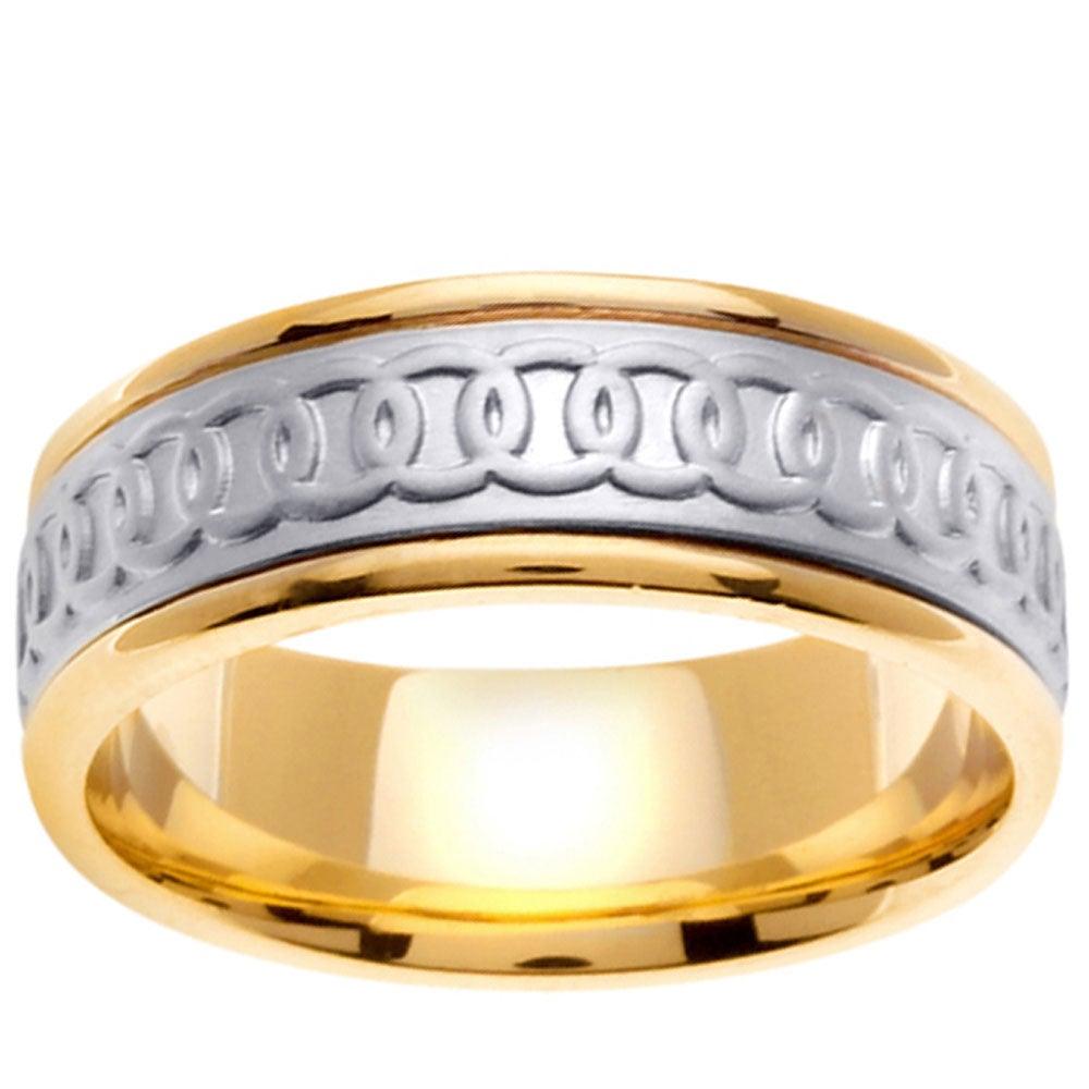 14k Two-tone Gold Men's Celtic Circle Design Wedding Band