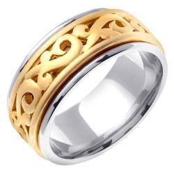 14k Two-tone Gold Men's Celtic Scroll Design Wedding Band