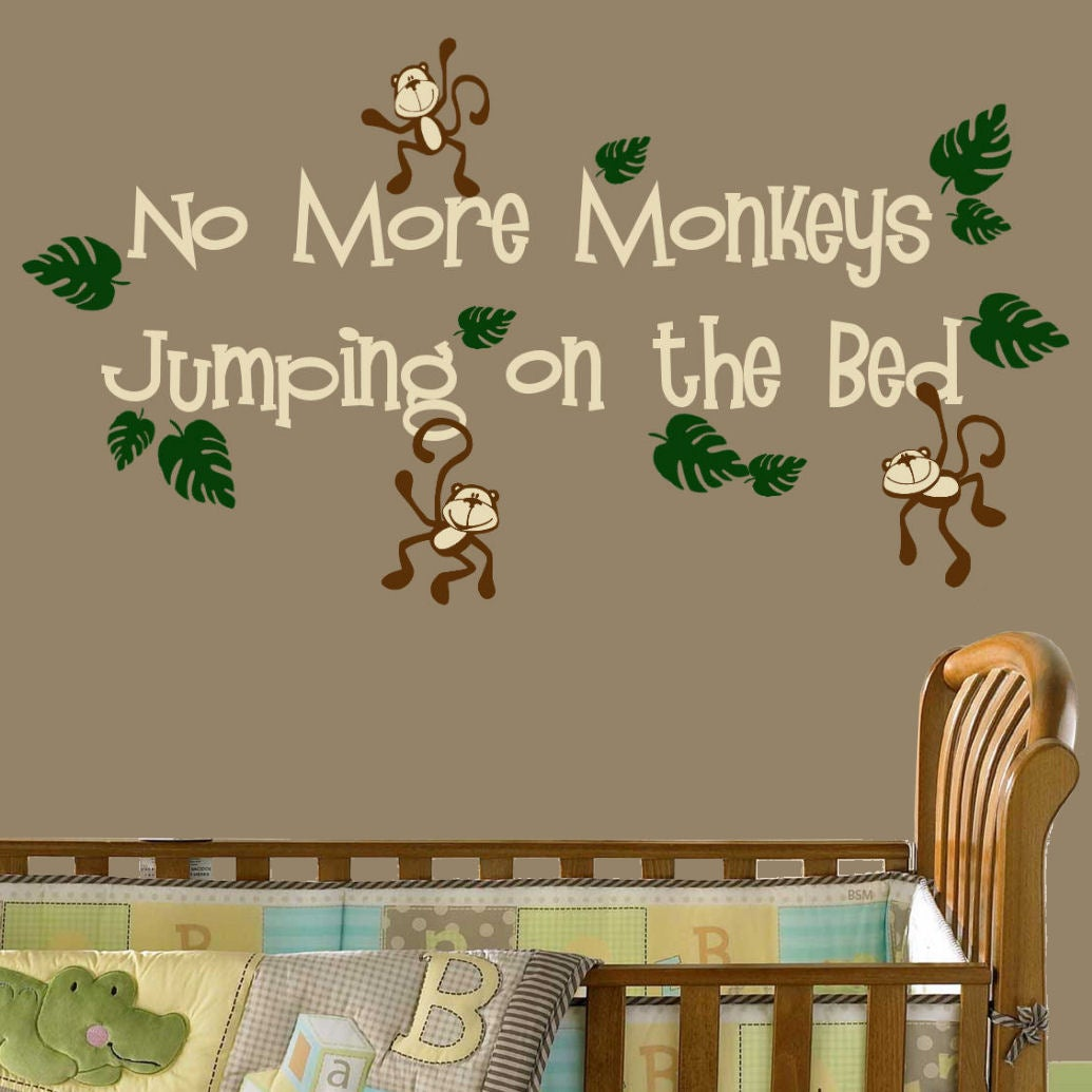 vinyl 39 no more monkeys jumping on the bed 39 wall decal. Black Bedroom Furniture Sets. Home Design Ideas
