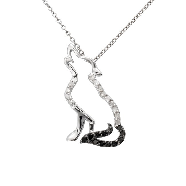 Sterling Silver 1/4ct TDW Black and White Diamond Wolf Necklace (J-K, I3)