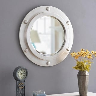 """Obion 24-inch Round Weathered Steel Wall Mirror - 24"""" Dia."""