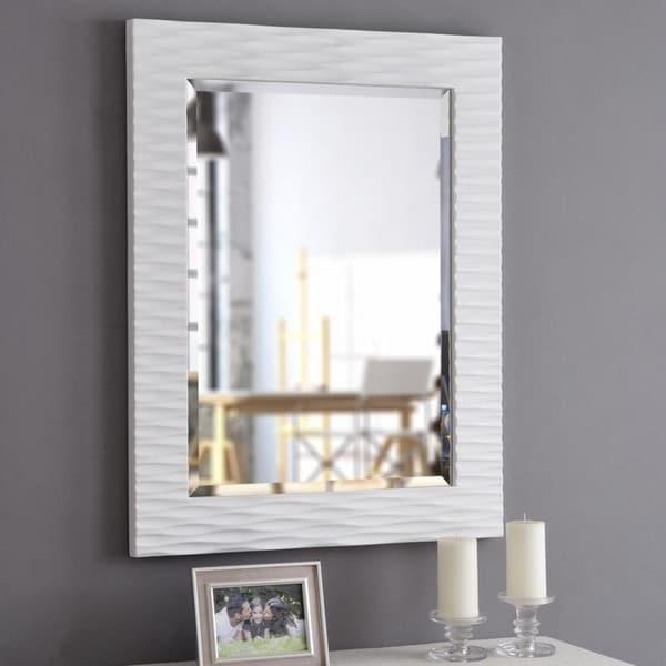 """Monroe (39 x 30) Gloss White Wall Mirror - 29.5"""" x 38.5"""""""