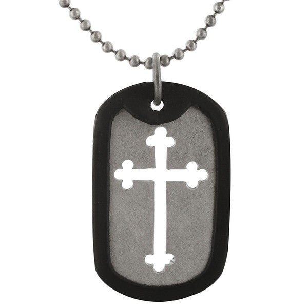 West Coast Jewelry West Coase J Silvertone Cut-Out Cross Rubber Dog Tag Necklace