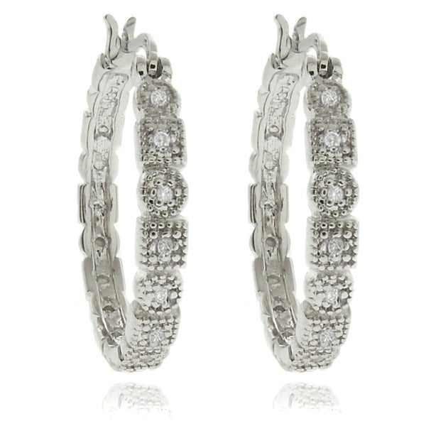 Sterling Silver 1/4ct TDW Diamond Geometric Hoop Earrings (I-J, I2-I3)