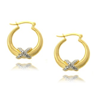 Finesque 14k Gold over Silver Diamond Accent 'X' Hoop Earrings