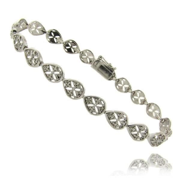 Finesque Sterling Silver Diamond Accent Teardrop Filigree Bracelet