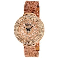 Burgi Women's Crystal Traditional Mesh Rose-Tone Bracelet Quartz Watch with FREE Bangle