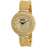 Burgi Women's Crystal Mesh Classic Gold-Tone Bracelet Quartz Watch with FREE Bangle