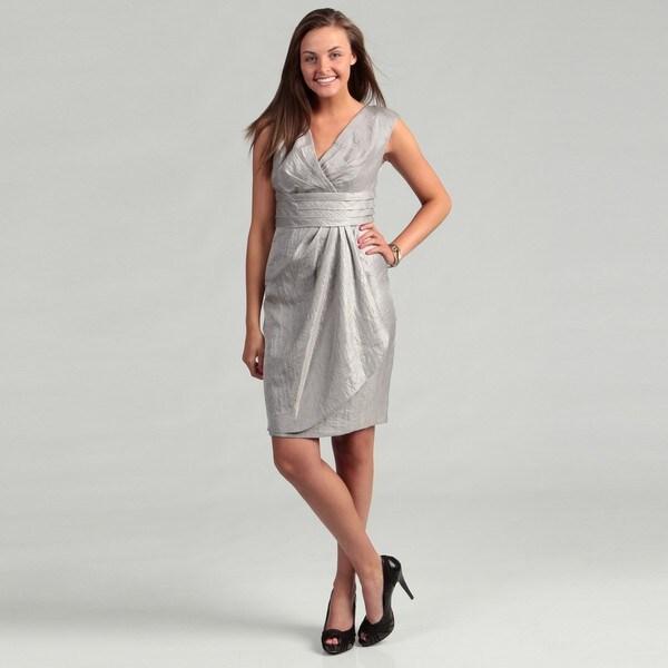 London Times Women's Steel Grey Pleated Dress