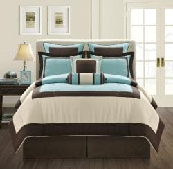 EverRouge Aqua Gramercy King Size 8 Piece Comforter Set