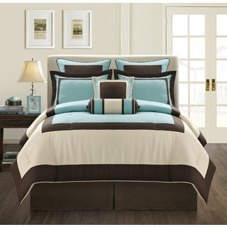 EverRouge Aqua Gramercy King-size 12-piece Bed in a Bag with Sheet Set
