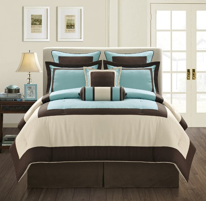 shop everrouge aqua gramercy queen size 12 piece bed in a bag with sheet set free shipping. Black Bedroom Furniture Sets. Home Design Ideas