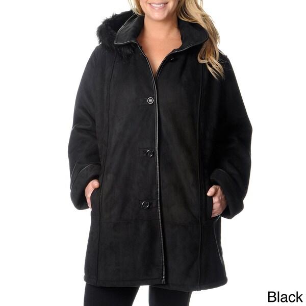 Excelled Women's Plus Size Black Faux Shearling Coat