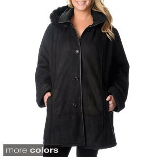Excelled Women's Plus Size Black Faux Shearling Coat