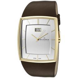 Skagen Men's Silver Dial Brown Leather Watch