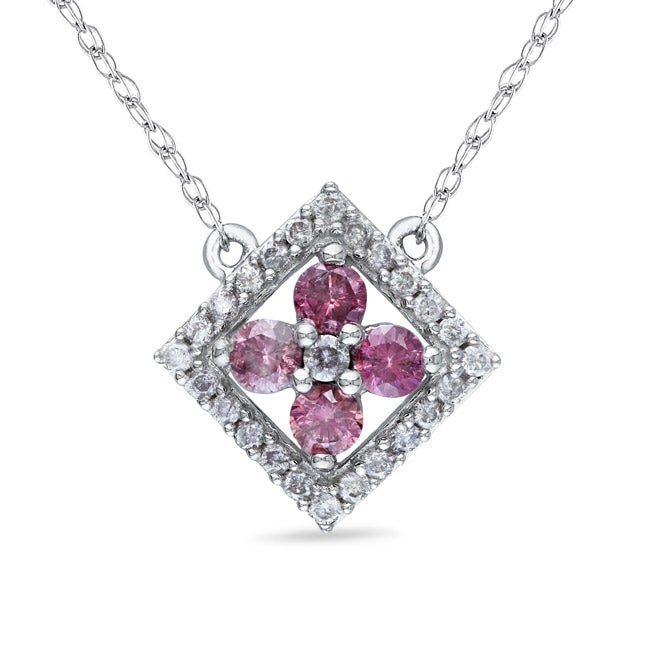 Miadora 10k Gold 1/2ct TDW Pink and White Diamond Necklace