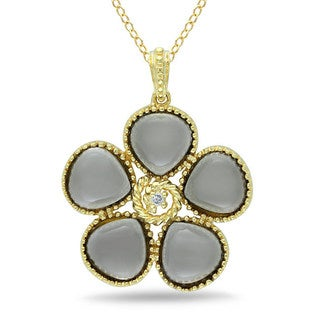 Miadora Silver Smokey Quartz and Diamond Accent Necklace