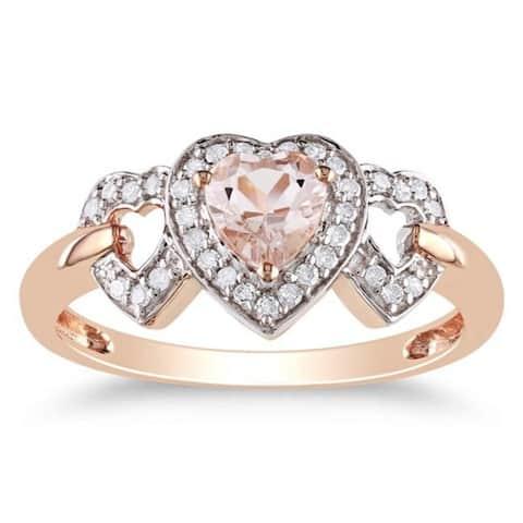 Miadora 10k Pink Gold Morganite and 1/8ct TDW Diamond Heart Ring (G-H, I2-I3)