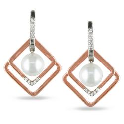 Miadora Sterling Silver 1/10ct TDW Diamond and White Pearl Earrings (8-8.5 mm)(G-H, I2-I3)