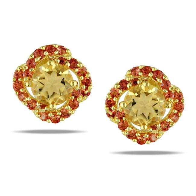 Miadora Yellow Silver Citrine and Orange Sapphire Stud Earrings