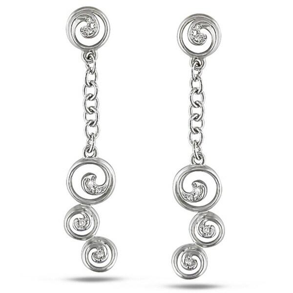 Miadora Signature Collection 14k White Gold Diamond Accent Swirl Linear Earrings (G-H, SI1-SI2)