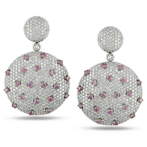 Miadora Signature Collection 18k White Gold 7 3/5ct TDW Pink and White Diamond Earrings