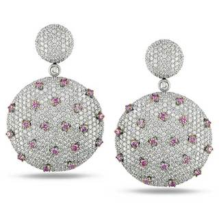 Miadora Signature Collection 18k White Gold 7 3/5ct TDW Pink and White Diamond Earrings|https://ak1.ostkcdn.com/images/products/6294024/P13925585.jpg?impolicy=medium